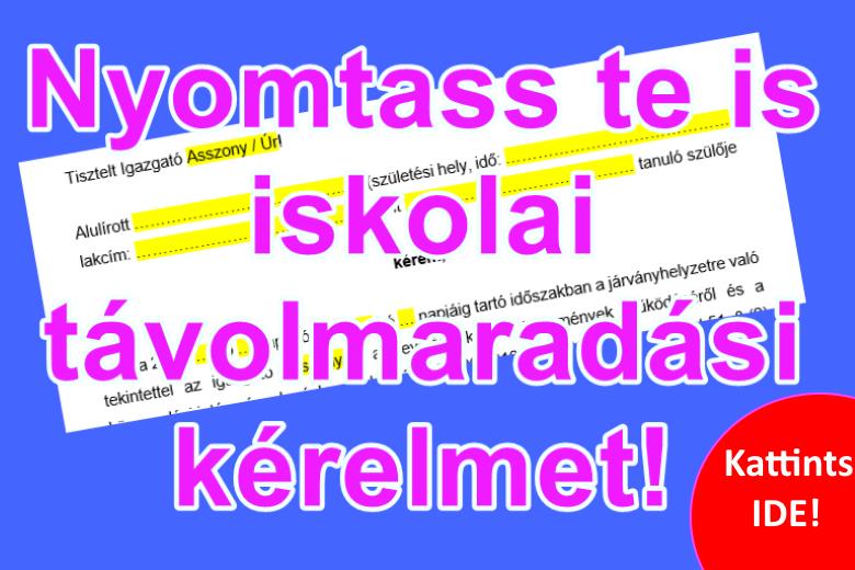 Iskolai távolmaradási engedély kérése - nyomtatható sablon